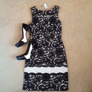 NWT Black and white lace shift dress The Limited
